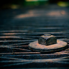 Keeping It Together by David Kreutzer - Artistic Objects Other Objects ( nuts and bolts, floor grate, industrial, washer, nut, factory, rusty, rust, industry, object )