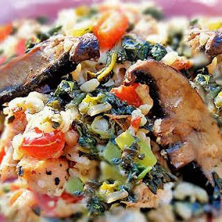 Mediterranean Chicken and Spinach Rice Bake.