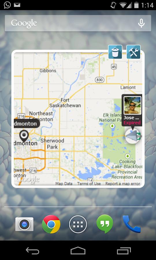 friend finder widget main screen