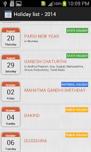 HOLIDAYS LIST, INDIA - 2014 - screenshot thumbnail