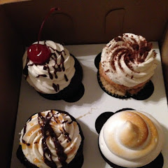 Hot fudge sundae, cookies and cream, salted caramel mocha, and camp out cupcakes! All delicious!