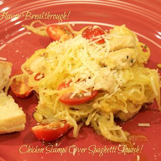 Chicken Scampi Over Spaghetti Squash!