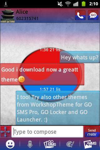 GO短信加强版主題韓國