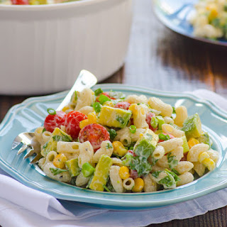 Summertime Pasta Salad with Greek Yogurt Dressing.