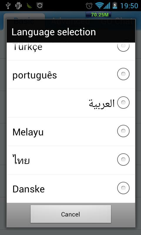 GO SMS Pro Denmark language - screenshot