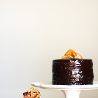 Chocolate Chip Grand Marnier Cake with Goat Cheese Buttercream