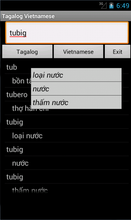 Vietnamese Tagalog Dictionary- screenshot