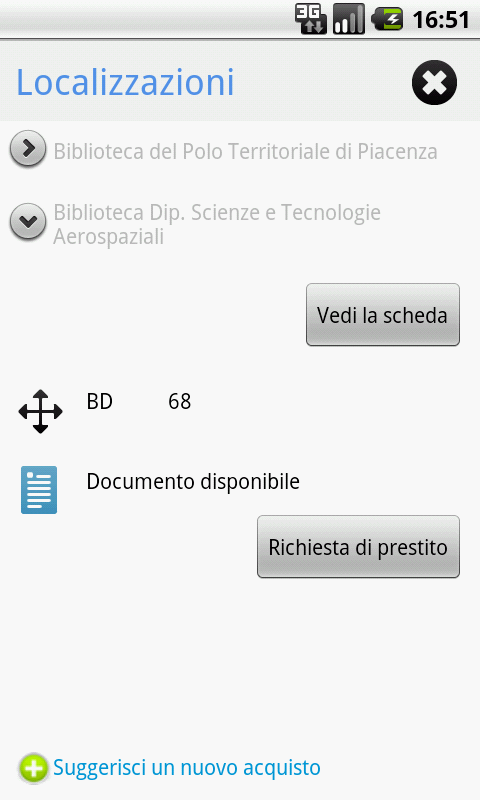 Polimi Library- screenshot