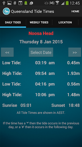 Queensland Tide Times