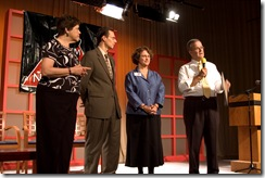 Trenton, New Jersey, USA - Wednesday October 15, 2008: Leadership New Jersey, the public policy seminar organization, held its 2008 Forum on the Future of New Jersey in the studios of New Jersey Network. Michael Willman, right, welcomes the studio audience and recognizes Leadership NJ Forum Chairs (from left): xxx, Andrew xxx, and Diane Brake.   Photography Copyright ©2008 Steven L. Lubetkin All Rights Reserved Email: steve@lubetkin.net Phone: 856.751.5491 https://lubetkin.net