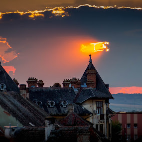 Sunset in Sibiu by Adrian Ioan Ciulea - Landscapes Sunsets & Sunrises ( houses, sunset, buildings, old town, historic district, city,  )