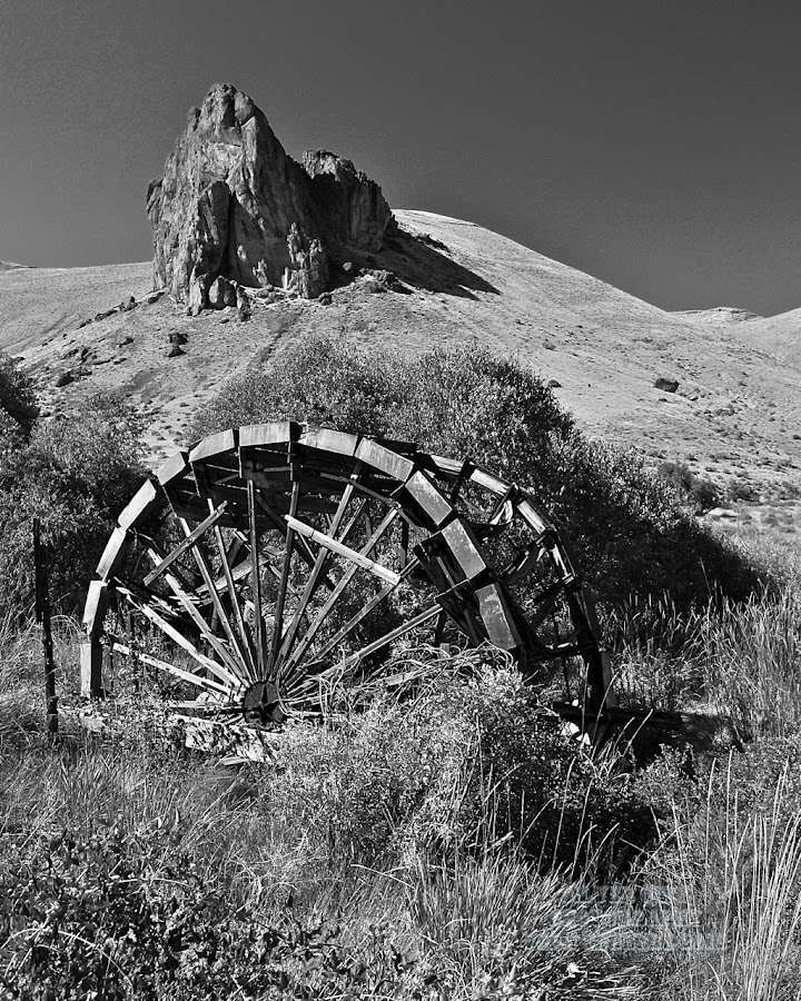 Water Wheel by Vern Tunnell - Buildings & Architecture Decaying & Abandoned ( owyhee, wheel, water power, water wheel, river, black and white, b&w, landscape )