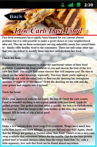 Low Carb Fast Food Screenshot
