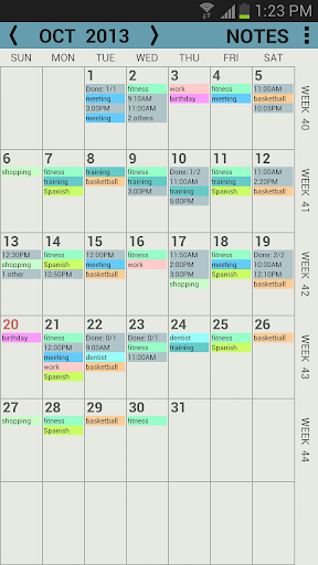 Penocle, calendar notes -trial  screenshots 1
