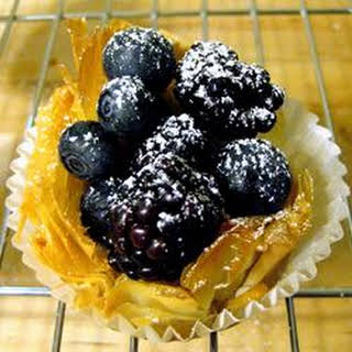 Phyllo Tarts with Ricotta and Raspberries.