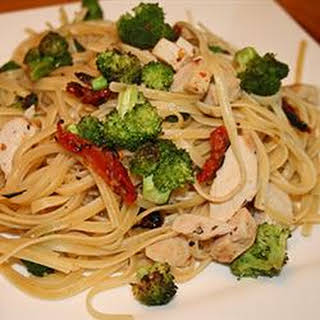 Linguine with Chicken and Vegetables in a Cream Sauce.