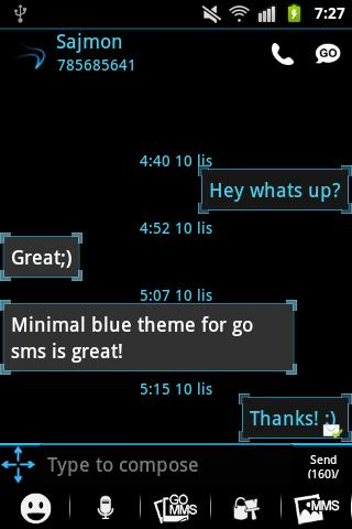GO SMS Pro Theme Ice Minimal - screenshot