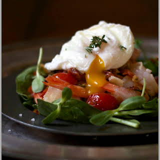 Grilled Rosemary Shrimp Salad with Pancetta and a Warm Poached Egg.