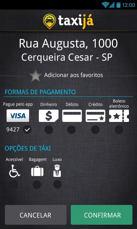 Taxijá brazilian taxi app - screenshot