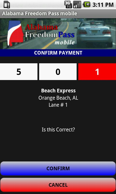 Alabama Freedom Pass mobile- screenshot