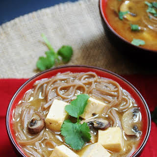 Red Miso Soup with Soba Noodles and Tofu.