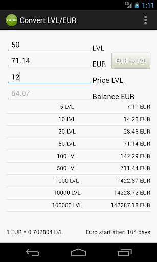 Konvertēt Euro un Latus