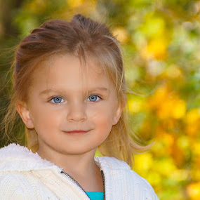 Autumn's Child by Luanne Bullard Everden - Babies & Children Child Portraits ( children portrait, girl, colorful, autumn, granddaughter, toddler, portrait,  )