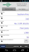 Screenshot of Anthony Lumber Span Calculator