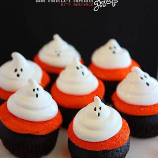 Dark Chocolate Cupcakes with Meringue Ghosts.