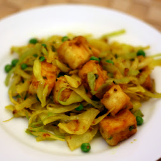 Dry-Cooked Cabbage with Tofu and Peas