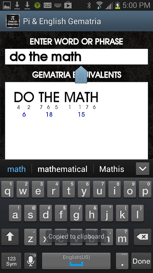 Pi & English Gematria 1.0 - screenshot
