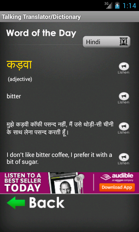 Hindi Translator / Dictionary - screenshot