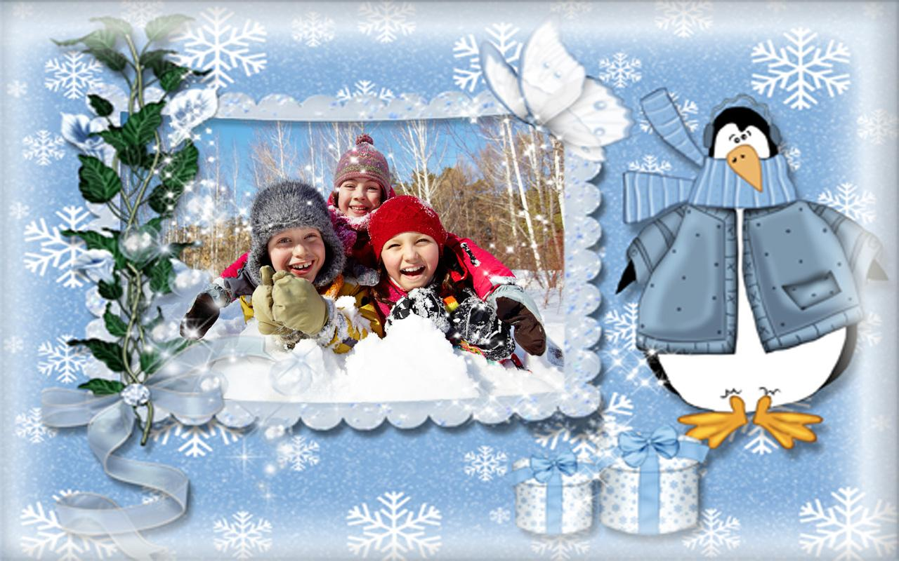 winter photo frames screenshot
