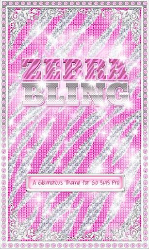 ♦ BLING Theme Pink Zebra SMS ♦