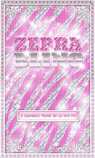 ♦ BLING Theme Pink Zebra SMS ♦ - screenshot thumbnail