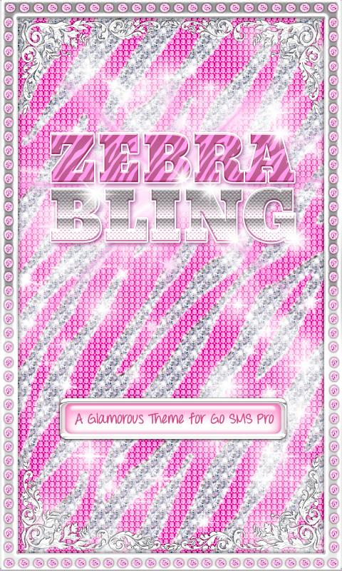 ♦ BLING Theme Pink Zebra SMS ♦- screenshot