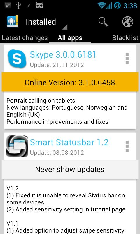 Changelog Droid - screenshot