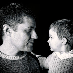 Father & Son by Melissa Connors - People Family ( family, black & white, son, people, father )