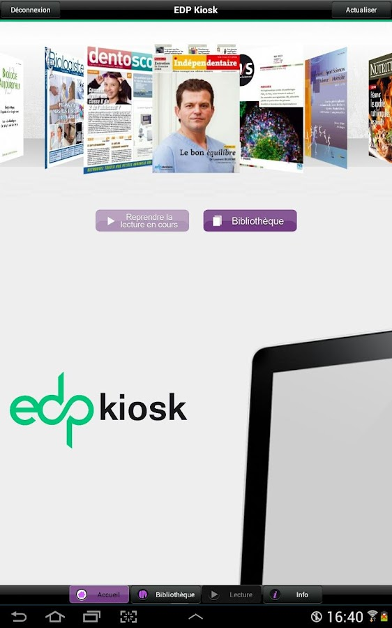EDP Kiosk – Capture d'écran