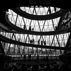 Mayor of London Office by Lee Davison - Buildings & Architecture Architectural Detail ( stairs, london, black and white, silhouette, spiral )
