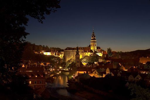 A night view of Cesky Krumlov, in the South Bohemian region of the Czech Republic. Old Cesky Krumlov is a UNESCO World Heritage Site.