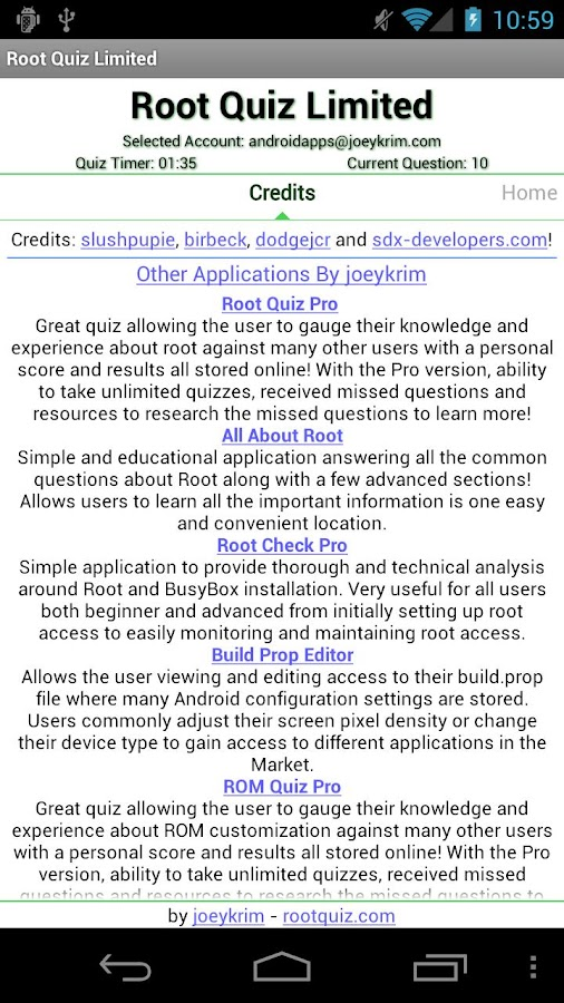 Root Quiz Limited - screenshot
