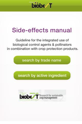 Biobest: Side-effects manual - screenshot