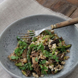 Pearled Barley Sauteed with Morels, Green Asparagus, and Wild Garlic.