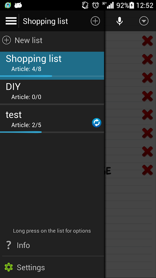 Shopping list voice input- screenshot