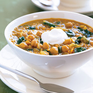 Curried Red Lentil and Swiss Chard Stew with Garbanzo Beans.