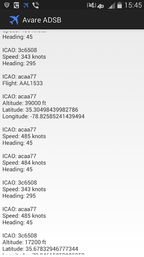 ADSB Receiver - screenshot