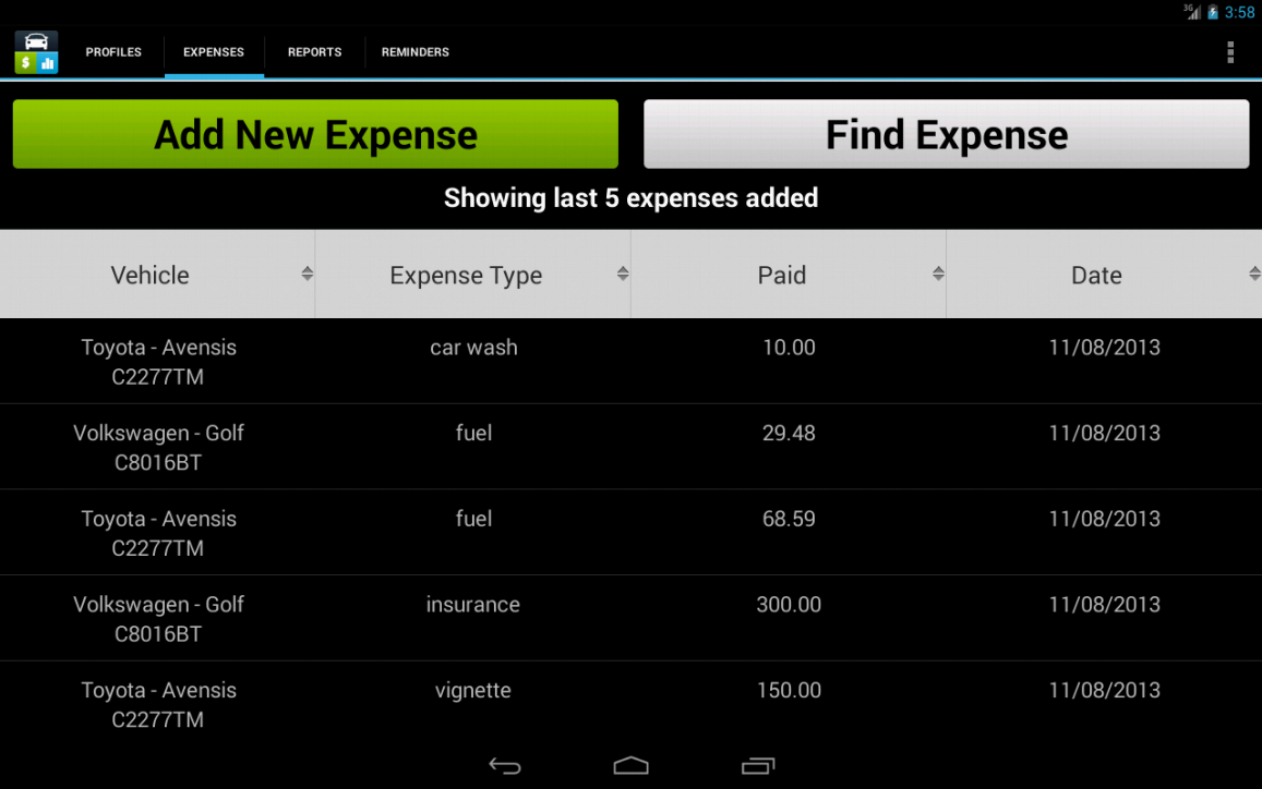 Car Expense Tracker- screenshot