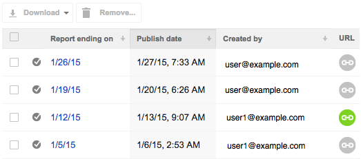 Report manager lists four reports with one green, View or remove link button in the URL column