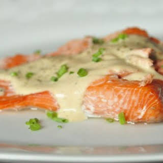 Baked Salmon with Browned Butter Sauce.